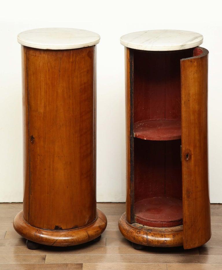 Biedermeier Superb Pair of Austrian Fruitwood, Marble Topped Columns, circa 1830 For Sale