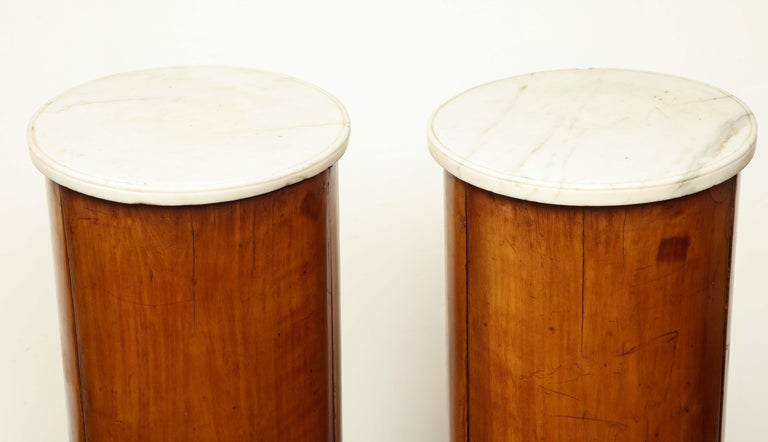 Superb Pair of Austrian Fruitwood, Marble Topped Columns, circa 1830 In Good Condition For Sale In New York, NY