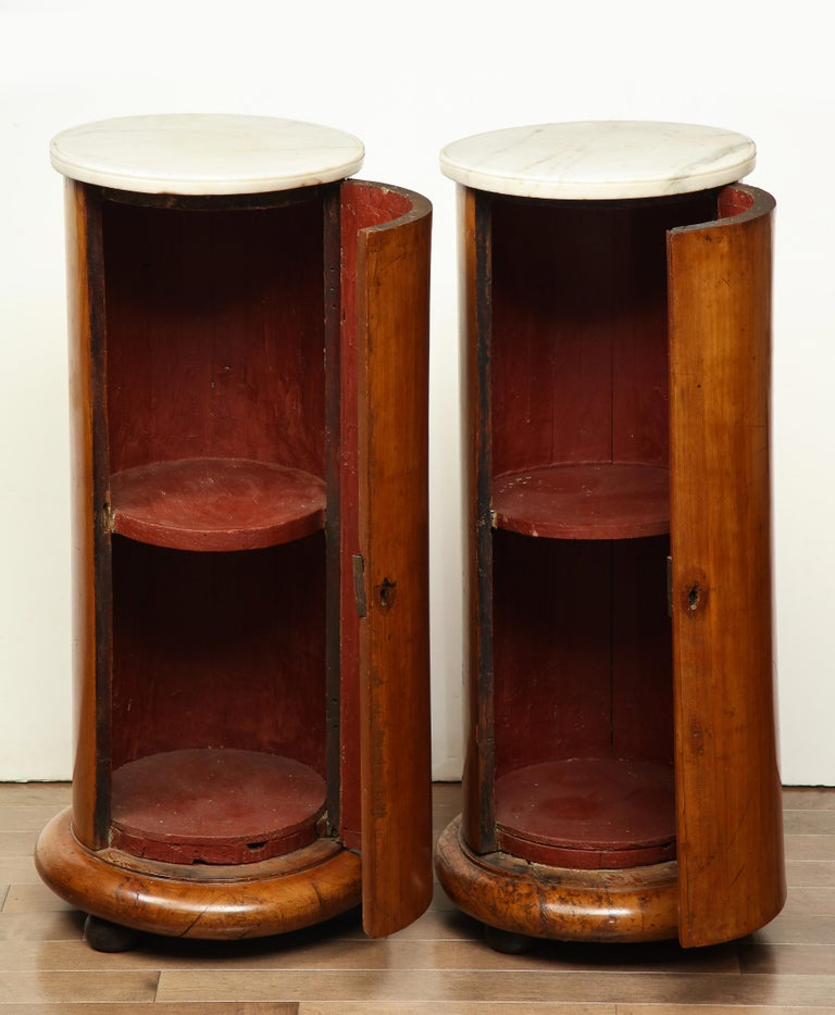 Superb Pair of Austrian Fruitwood, Marble Topped Columns, circa 1830 For Sale 1