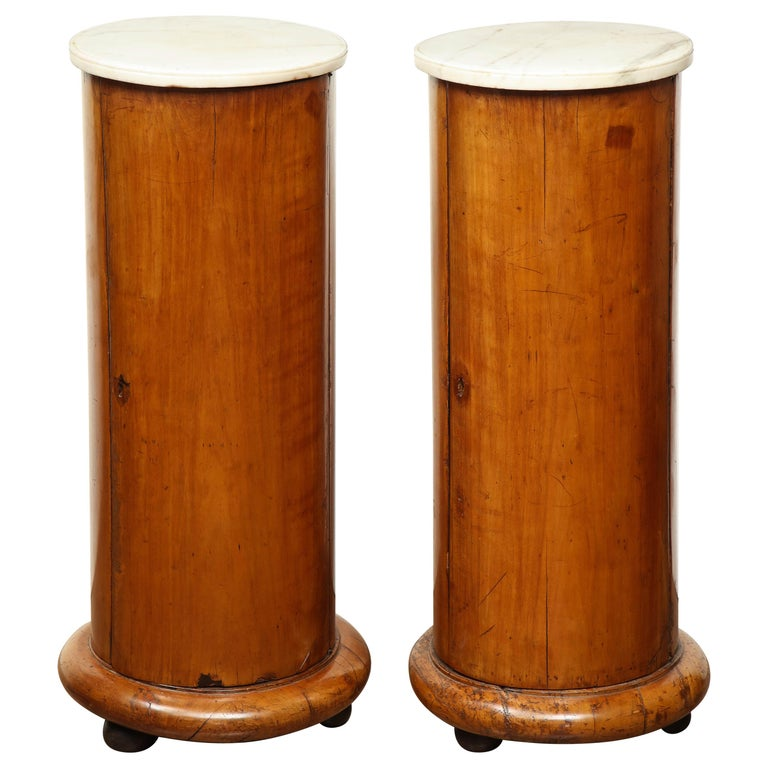 Superb Pair of Austrian Fruitwood, Marble Topped Columns, circa 1830 For Sale