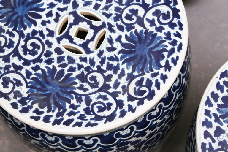 Chinese Superb Pair of Blue and White Cantonese Garden Seats For Sale
