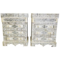 Superb Pair of Carved Camel Bone Nightstands