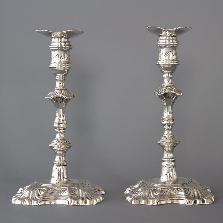 Pair Of Antique Georgian Sterling Silver 11 Candlesticks
