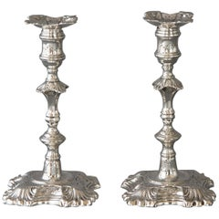 Superb Pair of Cast George II Silver Candlesticks, London 1749