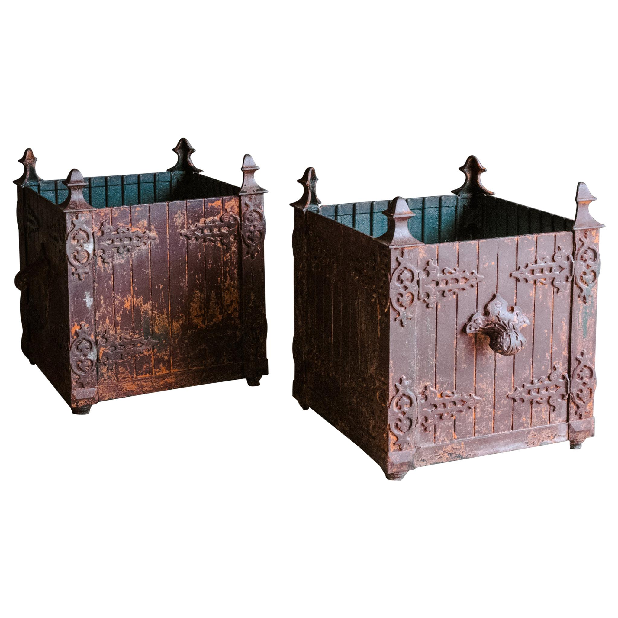 Superb Pair of Cast Iron Orangery Planters from France, Circa 1880