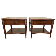 Superb Pair of Classic Henredon 1960s End Tables Drawer