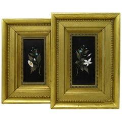 Superb Pair of Framed Pietra Dura Italian Wall Plaques Still Life Flowers