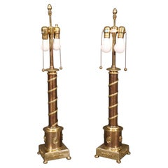 Superb Pair of French Solid Bronze and Brass French Empire Table Lamps