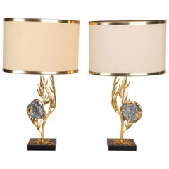 Superb Pair of Gilt Bronze and Celestite Lamps Attributed to W. Daro, France