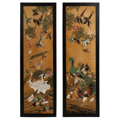 Superb Pair of Hand Painted Chinese Rice Paper Panels