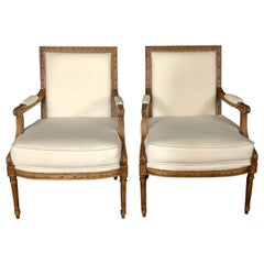 Superb Pair of Italian Carved Walnut Armchairs Bergeres with New Upholstery