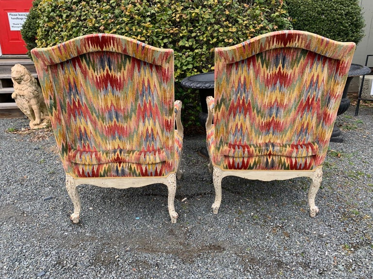 Superb Pair of Paris France Carved Wood Bergère Fauteuils with Velvet Upholstery 4