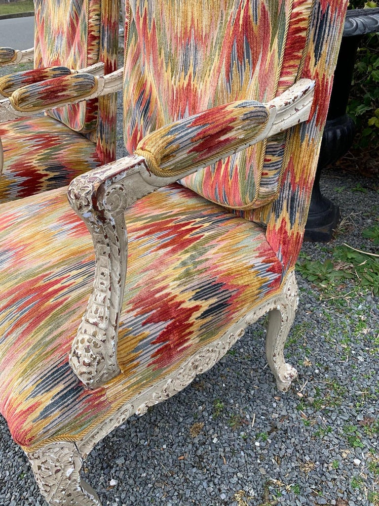 Superb Pair of Paris France Carved Wood Bergère Fauteuils with Velvet Upholstery 9