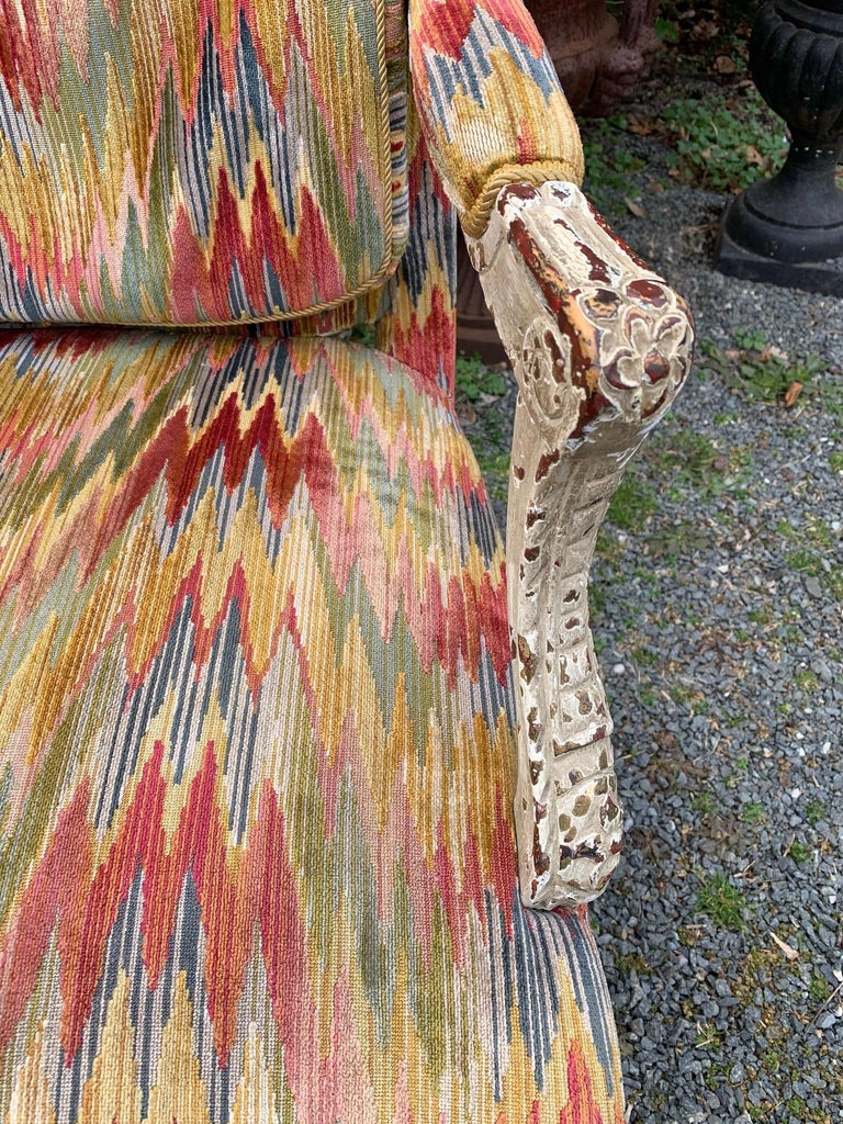 Louis XV Superb Pair of Paris France Carved Wood Bergère Fauteuils with Velvet Upholstery