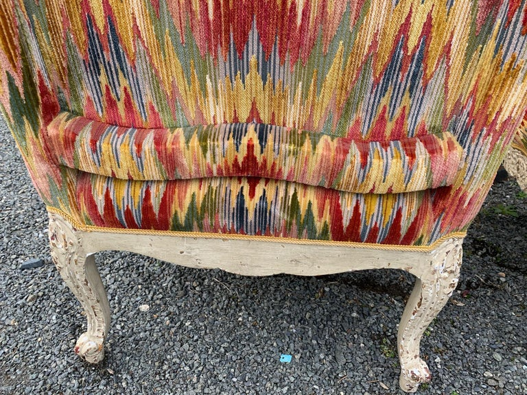 Superb Pair of Paris France Carved Wood Bergère Fauteuils with Velvet Upholstery In Excellent Condition In Hopewell, NJ