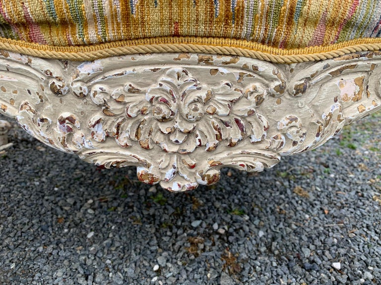 18th Century and Earlier Superb Pair of Paris France Carved Wood Bergère Fauteuils with Velvet Upholstery