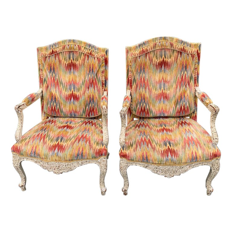 Superb Pair of Paris France Carved Wood Bergère Fauteuils with Velvet Upholstery