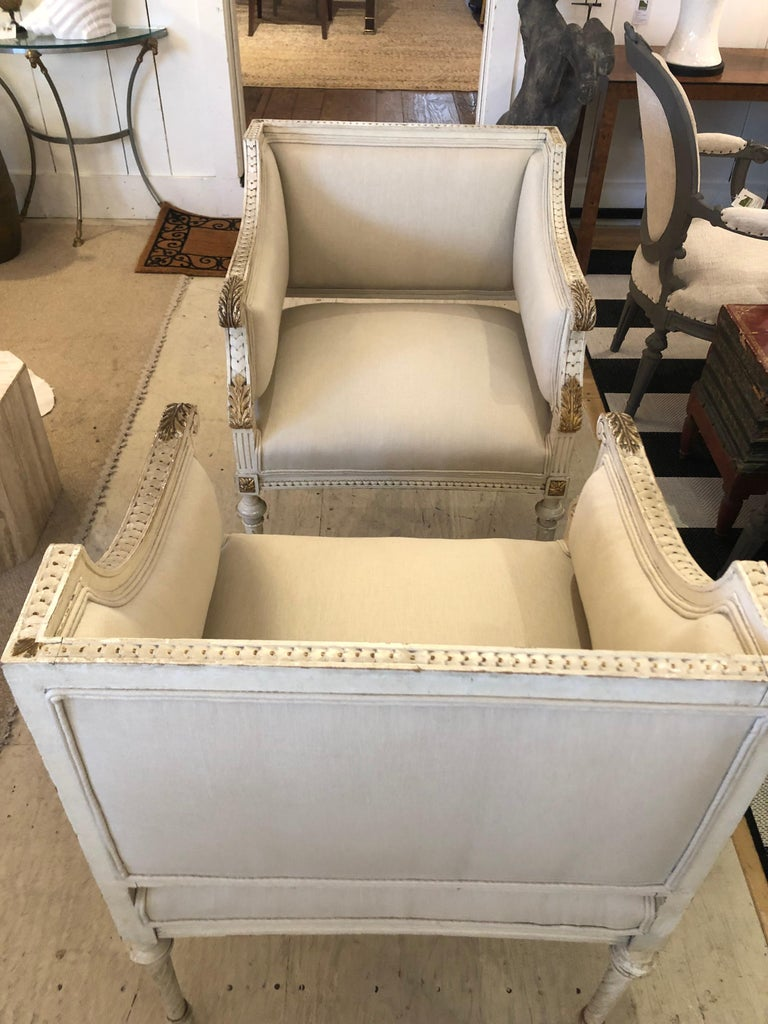 Linen Superb Pair of Paris Square Shaped Club Chairs For Sale