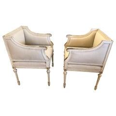 Superb Pair of Paris Square Shaped Club Chairs