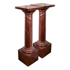 Superb Pair of Red Griotte Marble Columns, Pedestals, 20th Century, France