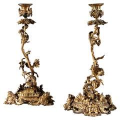 Superb Pair of Regency Gilt Brass Candlesticks