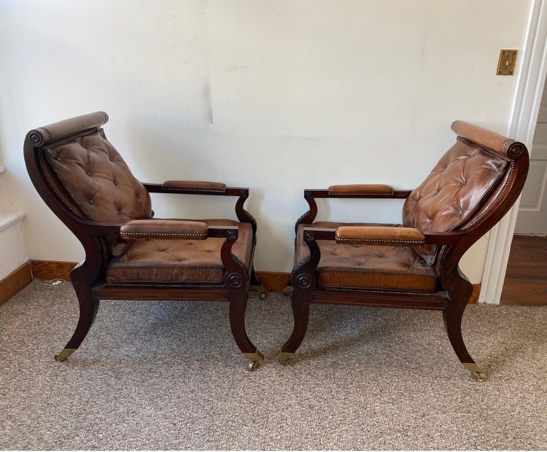 Superb Pair of Regency Style Mahogany and Leather Library Chairs, after Gillows In Good Condition For Sale In Charleston, SC