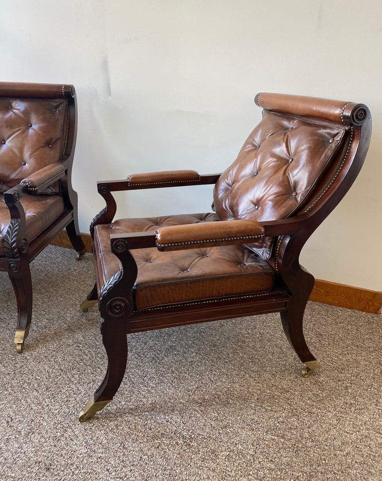 Superb Pair of Regency Style Mahogany and Leather Library Chairs, after Gillows For Sale 1