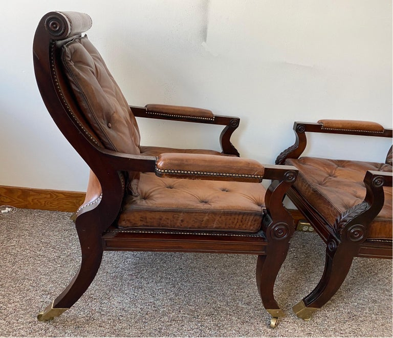 Superb Pair of Regency Style Mahogany and Leather Library Chairs, after Gillows For Sale 3