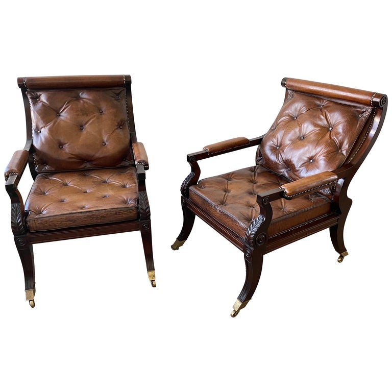 Superb Pair of Regency Style Mahogany and Leather Library Chairs, after Gillows For Sale