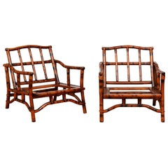 Superb Pair of Tortoiseshell Pagoda Loungers by John Wisner for Ficks Reed