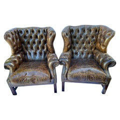 Superb Pair of Vintage Leather Wing-Back Tufted Club Chairs
