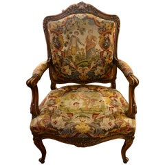 Superb Quality 19th Century French Carved Walnut and Tapestry Armchair