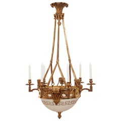Superb Quality Alabaster Rocco Chandelier, circa 1880