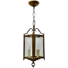 Superb Quality Art Deco French Brass and Etched Glass Lantern