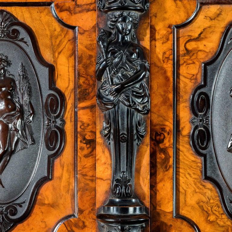 English Superb Quality Burr Walnut Antique Cabinet For Sale