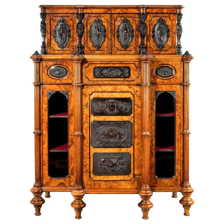Superb Quality Burr Walnut Antique Cabinet For Sale