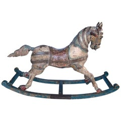 Superb Quality French 19th Century Painted Bow Rocking Horse