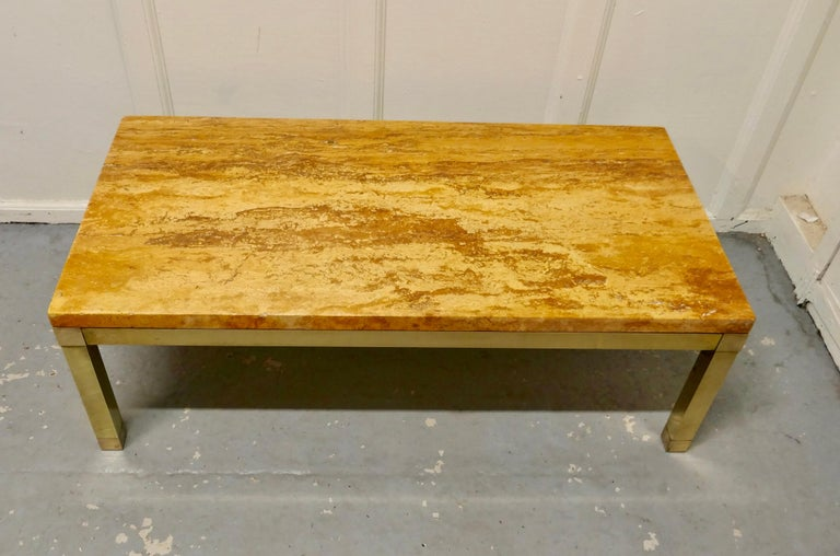 Superb Quality French Art Deco Brass and Marble Coffee Table In Good Condition For Sale In Chillerton, Isle of Wight