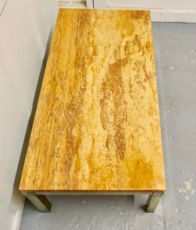 Superb Quality French Art Deco Brass and Marble Coffee Table For Sale 1