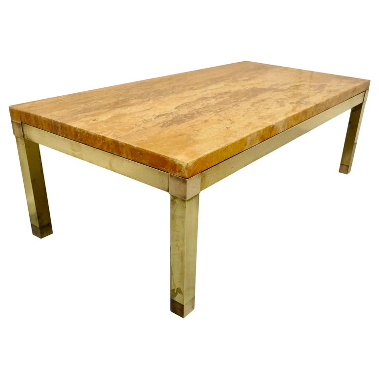 Superb Quality French Art Deco Brass and Marble Coffee Table For Sale