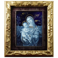 Superb Quality Limoges Enamel Plaque, Madonna and Child, 19th Century
