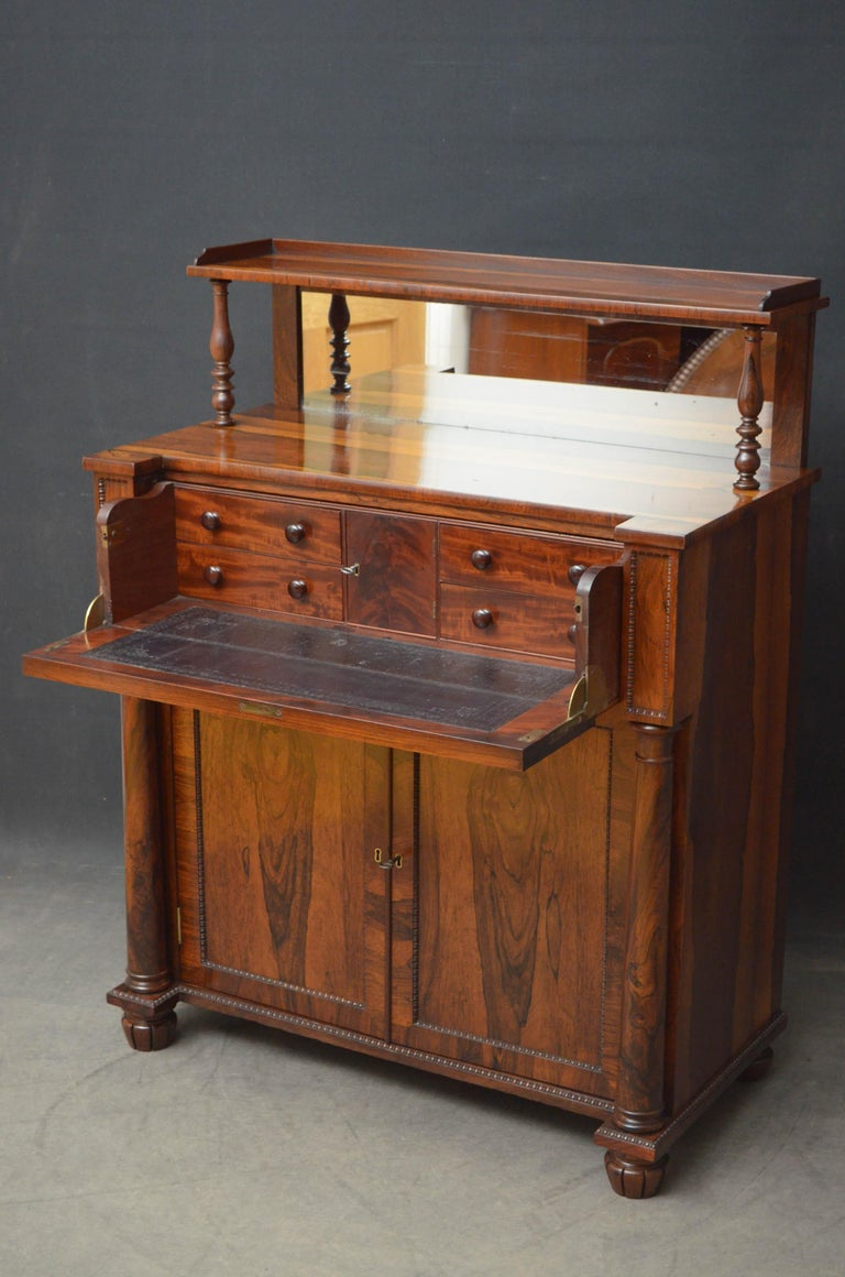 English Superb Quality Regency Chiffonier with Secretaire Section For Sale
