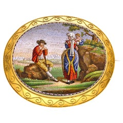 Superb Rare Antique Italian Micromosaic Brooch, circa 1860
