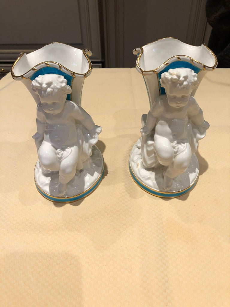 English Superb Rare Pair of Cherub Minton Caldwell Tiffany Blue and White Spill Vases For Sale