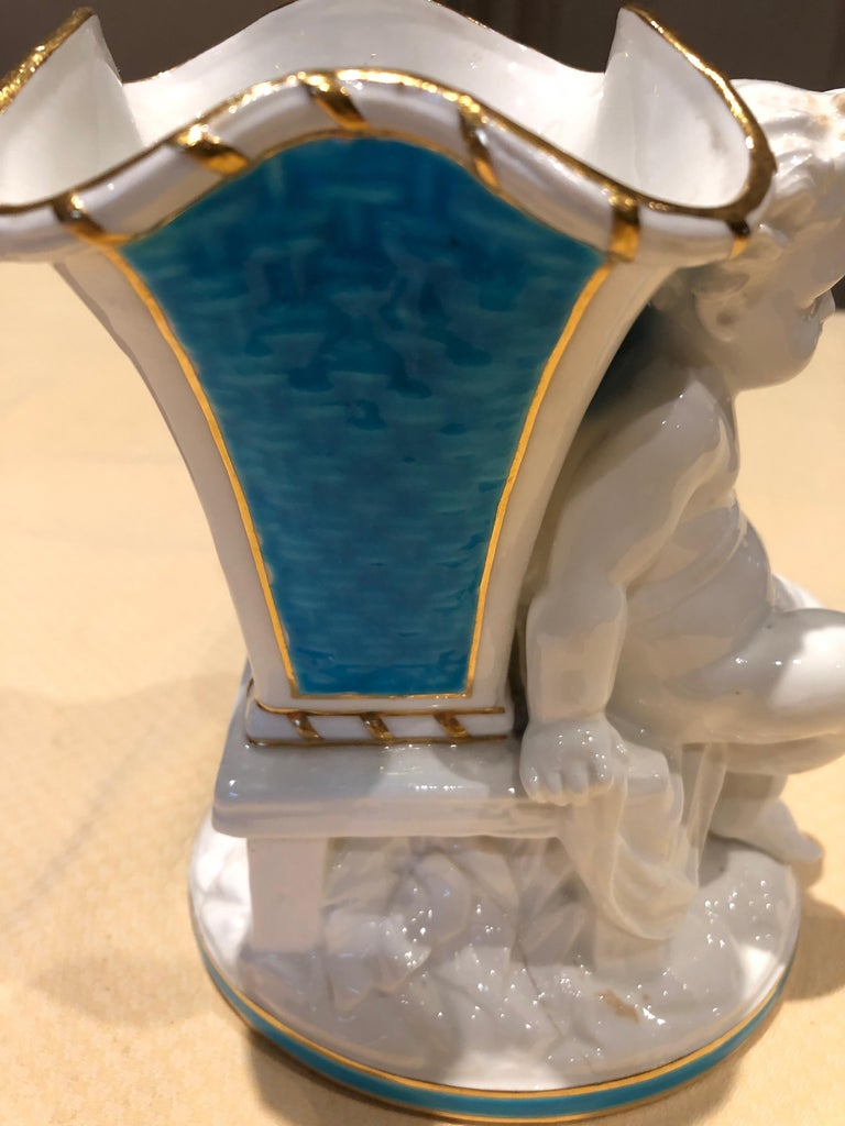 Superb Rare Pair of Cherub Minton Caldwell Tiffany Blue and White Spill Vases In Excellent Condition For Sale In Hopewell, NJ