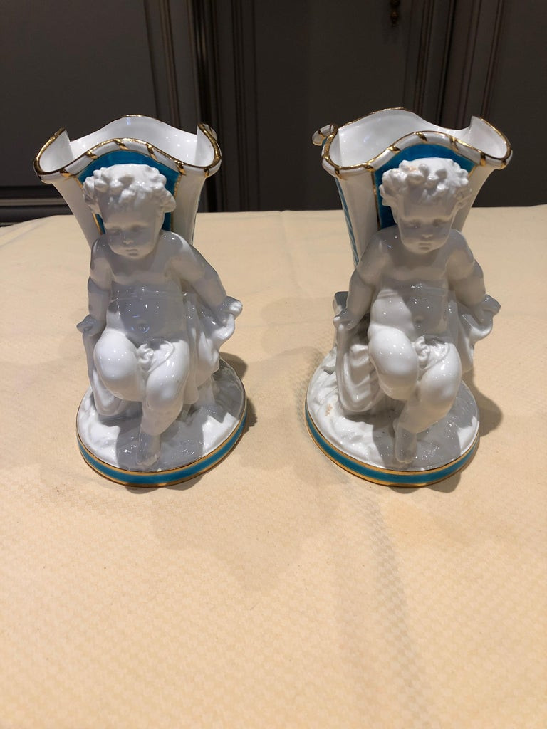 Mid-20th Century Superb Rare Pair of Cherub Minton Caldwell Tiffany Blue and White Spill Vases For Sale