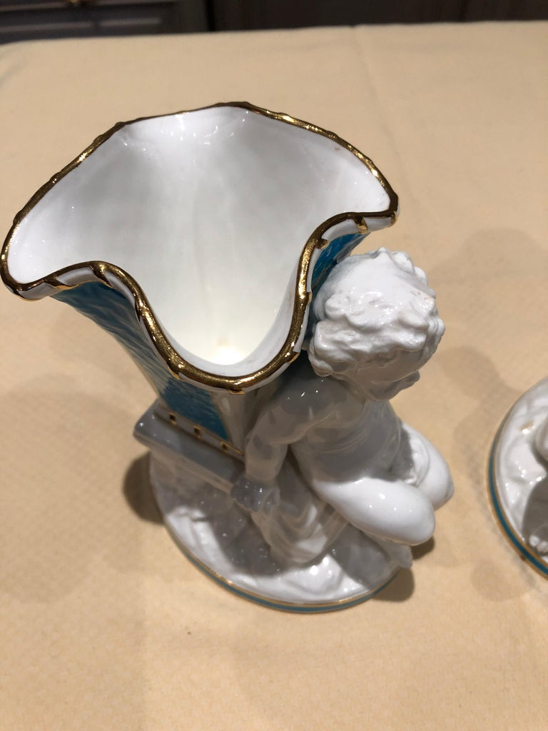 Porcelain Superb Rare Pair of Cherub Minton Caldwell Tiffany Blue and White Spill Vases For Sale