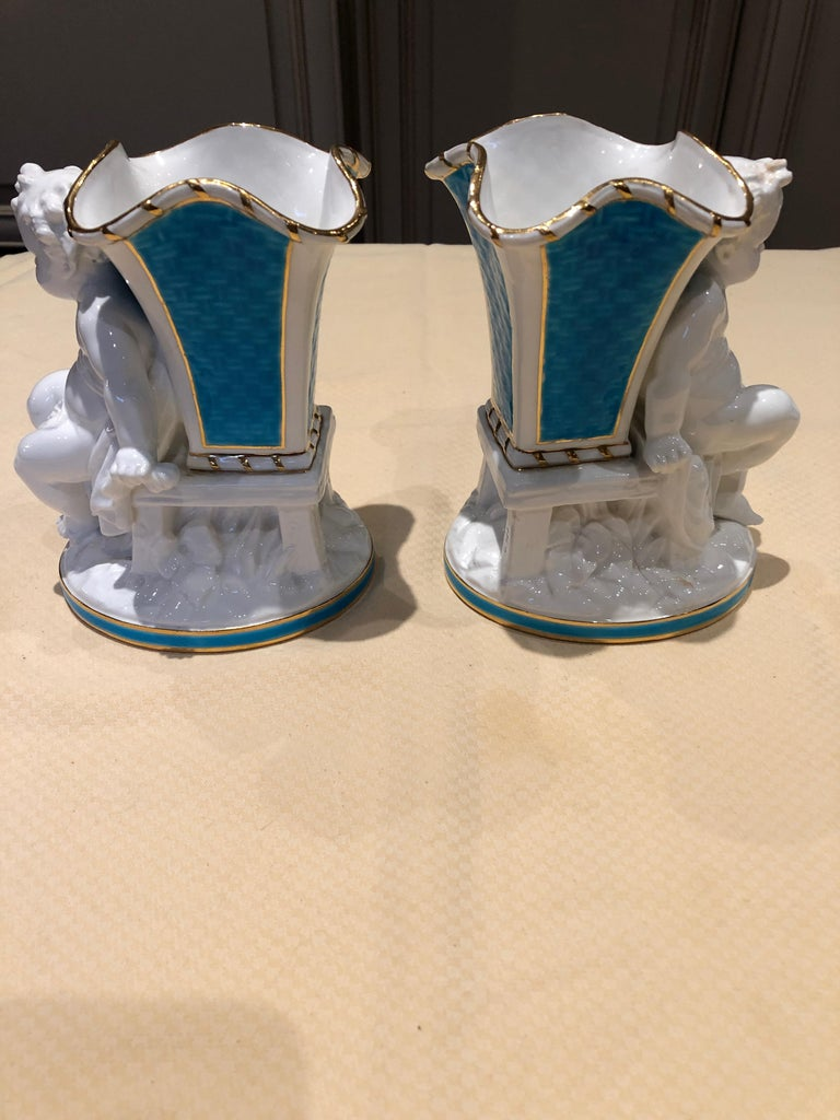 Superb Rare Pair of Cherub Minton Caldwell Tiffany Blue and White Spill Vases For Sale 1