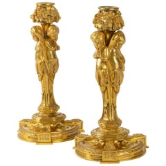 Superb, Rare Pair of Gilt Bronze Candlesticks, Louis XVI Style, by Dasson, 1882