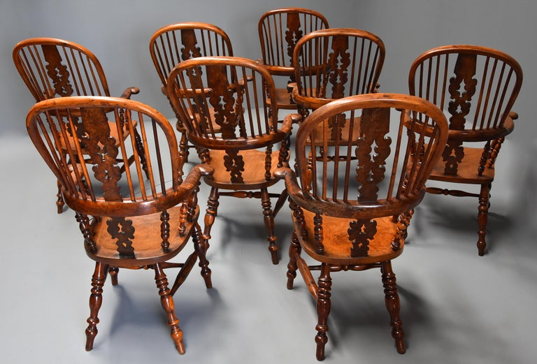 Superb Rare Set of Eight Burr Yew Broad Arm High Back Windsor Armchairs For Sale 7